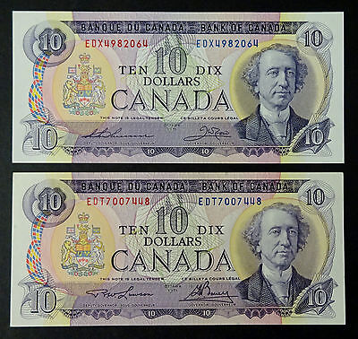 1971 - Two  $10 Canadian  Banknote (EDX & EDT) -  UNC/CH-UNC  Very Rare