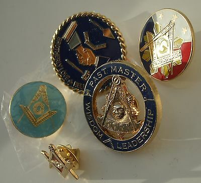 5 NEW listed  Freemason / Masonic lapel badges all brand new