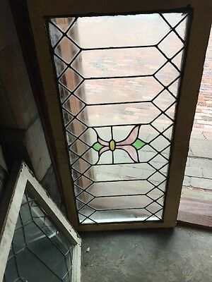 Sg 1125 Antique Leaded Glass Stain Center Transom Window