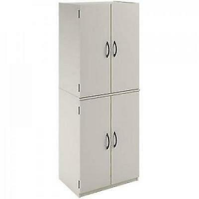 Kitchen Pantry Storage Cabinet White 4 Door u0026 Shelves Wood Organizer  Furniture