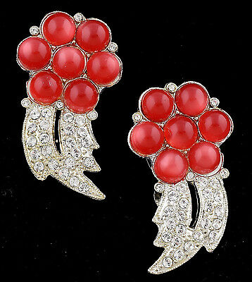 Pair of Dress Clips 1930s Art Deco Era Rhinestone Cranberry Moonglow ~ Lot 1095