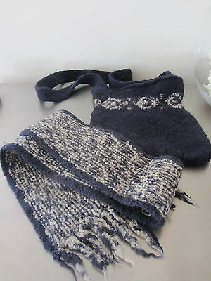 Fred Bare Hand Made 100% Wool bag and scarf