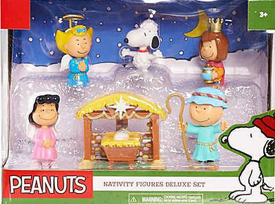 2016 Peanuts Nativity Figures Deluxe Set Charlie Brown & Gang 7 Piece MIB