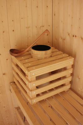 Sauna corner unit with bucket recess,with bucket and ladle
