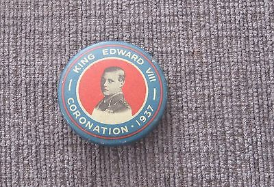 King Edward VIII Portrait Pin Back For His Proposed Coronation