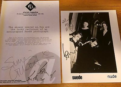 Suede mk1 Rare FULL BAND signed photograph, inc. signed letter of authenticity