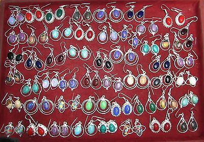 Wholesale Big Lot 150pr 925 Solid sterling Silver Turquoise Gems Earrings 2 1/4""