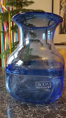 Vintage Kosta Boda Art Glass Blue Vase, Bertil Vallien Signed