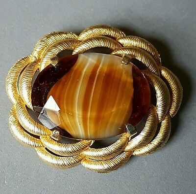 Vintage Brooch by Sphinx - Brown Murano Glass - Gold Tone