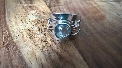 sterling silver and blue topaz ring size o