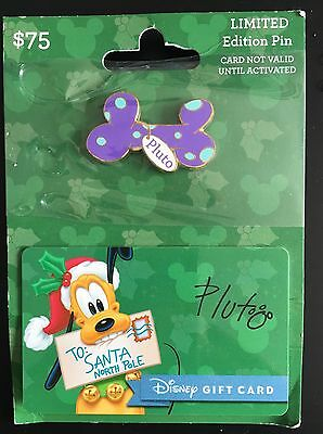 Disney Promo PLUTO   Gift Card (NO VALUE) with  Pin Christmas Holiday