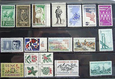 Collection of Unmounted Mint stamps from USA circa 1964