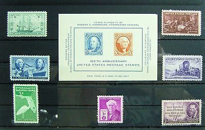 Collection of Unmounted Mint stamps from USA circa 1947