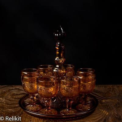 Tiara Indiana Glass Amber Cordial Wine Decanter