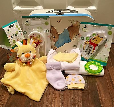 Unisex Boy Girl Baby Gift Set Hamper Basket Nappy Cake Peter Rabbit Yellow Green