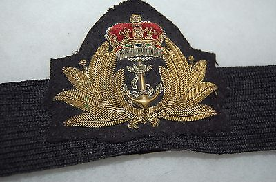 Post WWII British Royal Navy Officer's Cap Hat Insignia on original band.