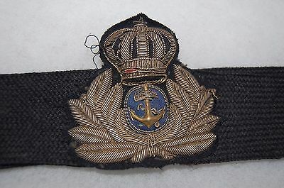 WWII Greek Royal Navy Officer's Cap Hat Insignia on original band.
