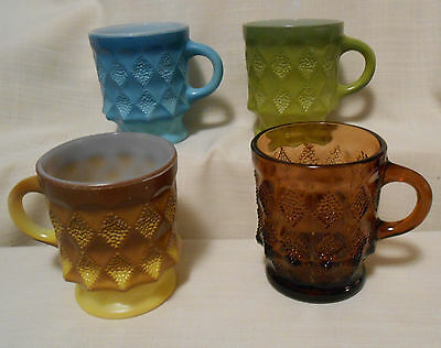 4 Vintage  Fire King Kimberly Cups Mugs Amber Blue Yellow Green