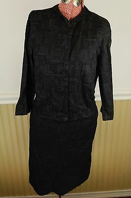 Vintage 50s Black Geometric Batik Madras  Cotton Womens Skirt/Jacket Suit, XS