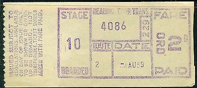 UK 1959 READING Corporation 2d bus ticket with light creases