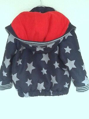 Boys Star Coat, Navy Blue, Grey, Red Lining 18-24 months