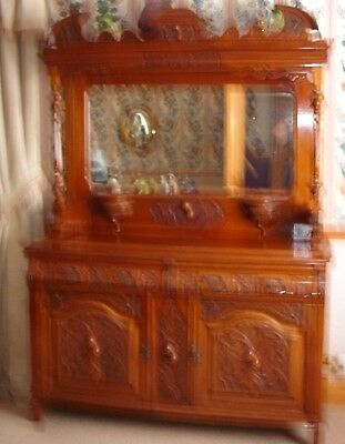 Antique mohogany, mirror backed sideboard