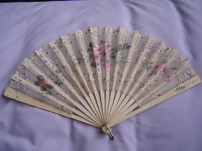 Pretty lace fan, with painted flowers, butterfly, bone guards, early 1900s