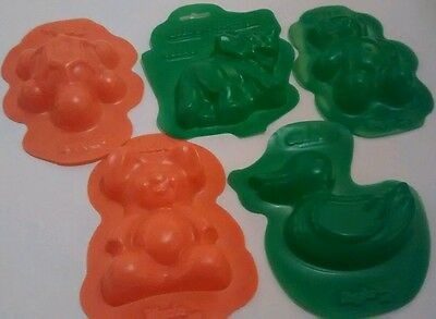 Lot of 5 Jello Jiggler molds rigolos duck turtle bear dinosaure turtle