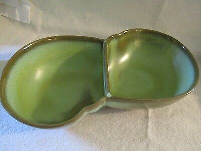 Frankoma, prairie green, divided serving dish, collectible pottery