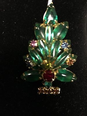 Vintage Goldtone With Multi-color Stones Christmas Tree Pin/brooch