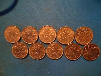 Lot of 10 Uncirculated Canadian Small Cents:5-1964 & 5-1965