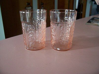 "Sharon Cabbage Rose 4"" pink thin 9 oz tumblers (2)"
