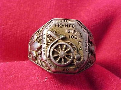 Orig Wwi Us Scarce Ring France 105Th Field Artillery 27Th Division - Sterling