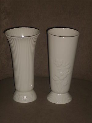Rare Vintage Complimentary Pair Lenox Ivory Color Vases Old Blue Mark
