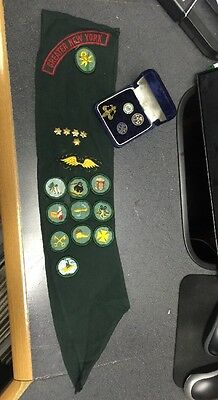 Vintage Girl Scouts Sash Patches and Pins Greater New York
