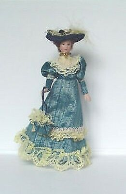 Dolls House Porcelain Lady Doll in Blue Dress :  12th scale