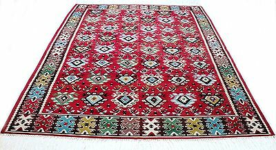 """Antique tribal vintage unique handmade hand-knotted rug (80""""x 113"""")100% wool #34"""