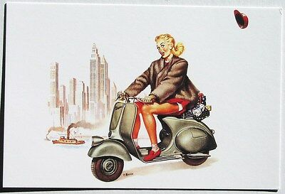 VESPA POSTCARD w/sexy NYC scooter girl Piaggio calendar cover art by F. Mosca