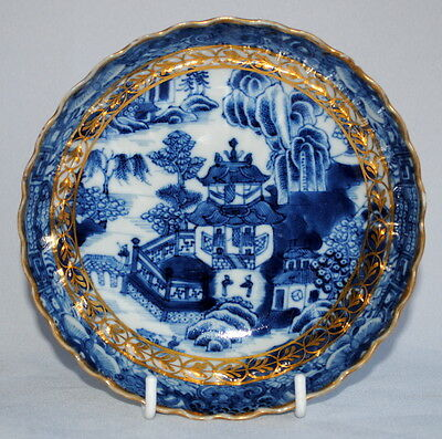 18Thc Chinese Export Porcelain Blue & White Willow Pattern H Painted Dish