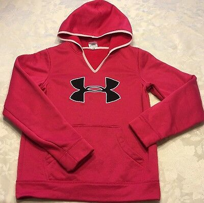 Size L Girls Under Armour Hoodie Pink Pullover Sweatshirt YLG Large Black