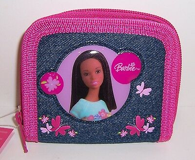 """African American BARBIE Blue Denim """"Flowers"""" Zippered WALLET COIN PURSE Tote NEW"""