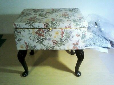 Vintage Sewing Box With Wooden Legs