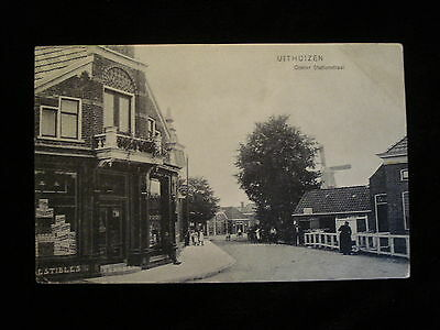 Uithuizen Netherlands Groningen Vintage Street and Storefront View Windmill