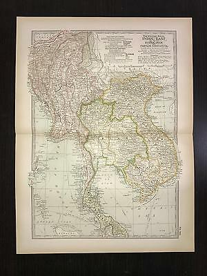 Antique 1897 Map - No. 106 India, East, Burma, Siam, and French Indo-China