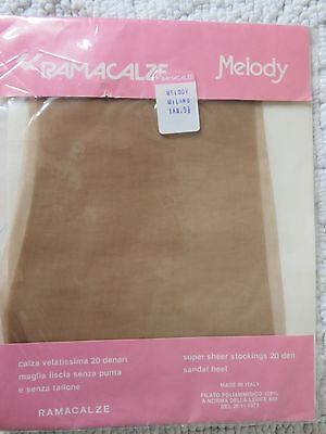 VINTAGE RAMACALZE 'MELODY' NYLON STOCKINGS, MILANO, SIZE 9.5, SANDAL HEEL, 20d.