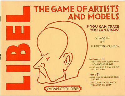 CALVIN COOLIDGE - LIBEL The Game of Artists & Models trace & draw Vintage
