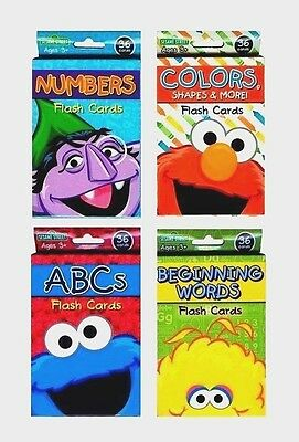 SET (4) Sesame Street Flash Cards Letters Numbers Alphabet Shapes Colors Kids