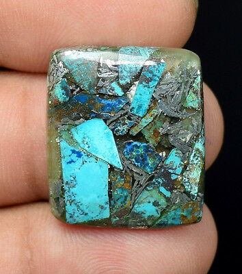 13.75  Cts Natural  Finest  Silver  Azurite  Cushion  Cab Loose  Gemstones
