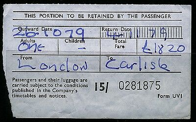 UK 1979 SMT LONDON to CARLISLE coach ticket with creases