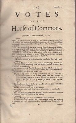 Votes of the House of Commons 4th Dec1706 Parliament, Antique Print 300 yrs old